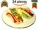 Set Of 24 Taco Holders || 24 pcs in 1 Pack For Soft and Hard Shells || 12 pcs Red Color and 12 pcs Green Color || BPA Free || Dishwasher and Microwave Safe