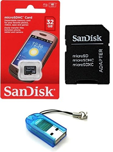 Sandisk 32GB Class 4 MicroSDHC MicroSD C4 TF Flash Memory Card with SD Adapter and USB SD Card Reader / Writer #R13 (Bulk Packaged) from SanDisk