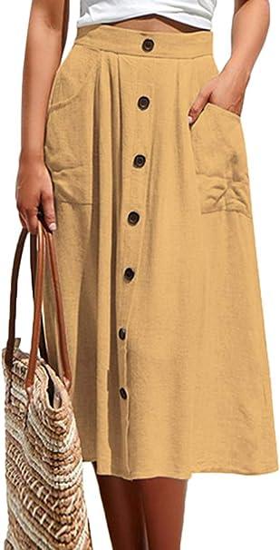 ORANDESIGNE Mujeres A-Line Faldas Verano Vintage Elegantes Color ...