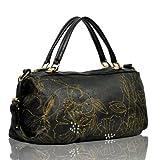 Motony Real Leather Large Travel Shoulder Boston Bag Hobo Handbag Black, Bags Central