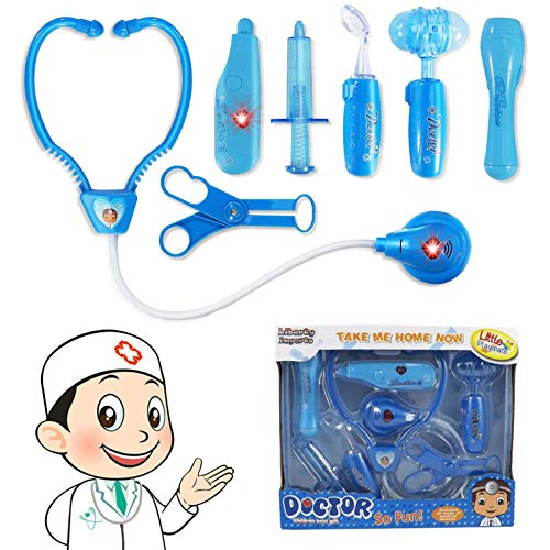 Liberty Imports Doctor Nurse Blue Medical Kit Playset for Kids - Pretend Play Tools Toy Set