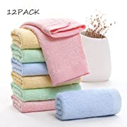 MUKIN Baby Washcloths Natural Organic Washcloth Bamboo, Baby Face Towels - Extra Soft For Newborn/Infant/Kids/Adults - Ultra Soft For Baby Registry as Shower Gift Set,10x10inch. (12 Pack.)