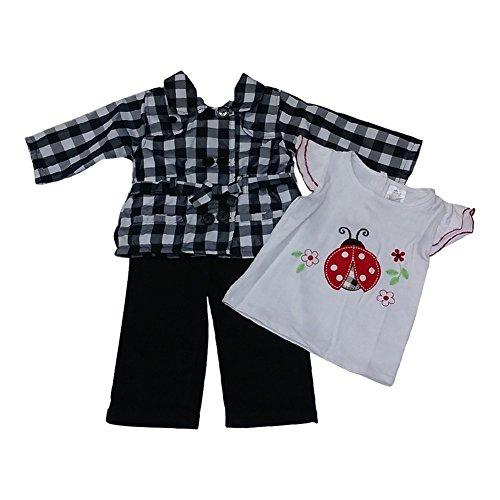 American Character Little Girls Black Checker Lady Bug Twill Pants 3 Pc Set 4 - Ladybug Capri Outfit