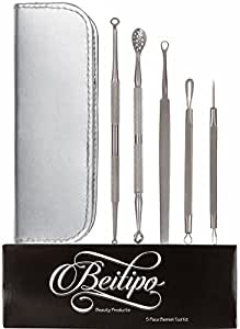 Comedone Extractor Acne Removal Tool Kit (5 Pieces in Choice of Silver or Black Zipper Case) Effective for Treatment of Blackhead and Whitehead