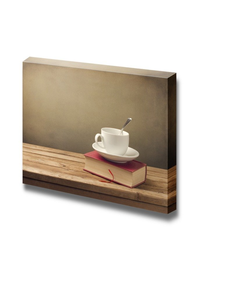 Cup of Coffee and Book on Wooden Table Wall Decor ation ...