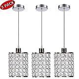 Delica Home Modern Simple 3 Pack Pendant Light, Fashion Crystal Pendant Lighting, Crystal Lamps for Dining Room, Living Room, Bedroom, Bar