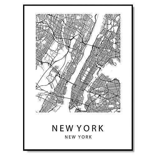 New York Map Wall Art Poster Print New York USA City Map Street 8x10 Black & White (Photo Frame Cherished Moments)