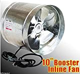 USA Premium Store 10'' Duct Booster Inline Blower Fan Exhaust Vent Air Cooled Hydroponic110V/60Hz