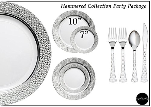 Royalty Settings Hammered Plastic Cutlery and Plastic Plates Set Party Package for 120 Persons, Includes 120 Dinner Plates,120 Salad Plates, 240 Forks, 120 Knives, 120 Spoons by Royalty Settings