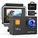 APEMAN Action Camera 4K 20MP WiFi Ultra HD Underwater Waterproof 40M Sports Camcorder with 170 Degree EIS Advanced Sensor, 2 Upgraded Batteries, Portable Carrying Bag and 24 Mounting Accessories Kits: more info