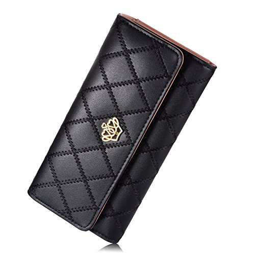 Wholesale Designer Inspired Handbags - Leiwo Women's Long Crown Clutch Leather Card Holder Purse Wallet Black