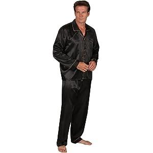 Alexander Del Rossa Mens Satin Pajamas, Long Button-Down Pj Set