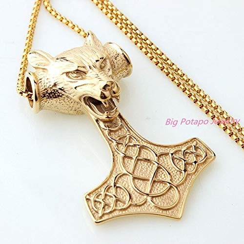 Fashion Pendant for Necklace | Punk Wolf Lion Head Personal Viking Thor Vintage Chain Necklace & Pendants (Gold) -