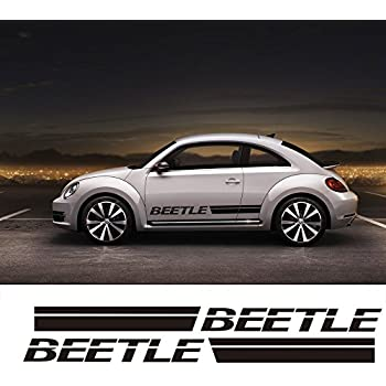 For VW Beetle For Volkswagen Beetle Car Body Sticker Customizable Motorsports Door Side Stripe Stickers Decal (BLACK)