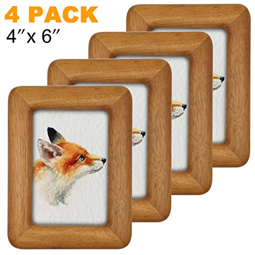 - FANCER 4 Pack 4X6 Natural Solid Wood Rustic Round Edge Rounded Rectangle Photo Picture Frames with High Definition Glass Front, for Wall and Tabletop Display (4x6'' 4Pack 13#)