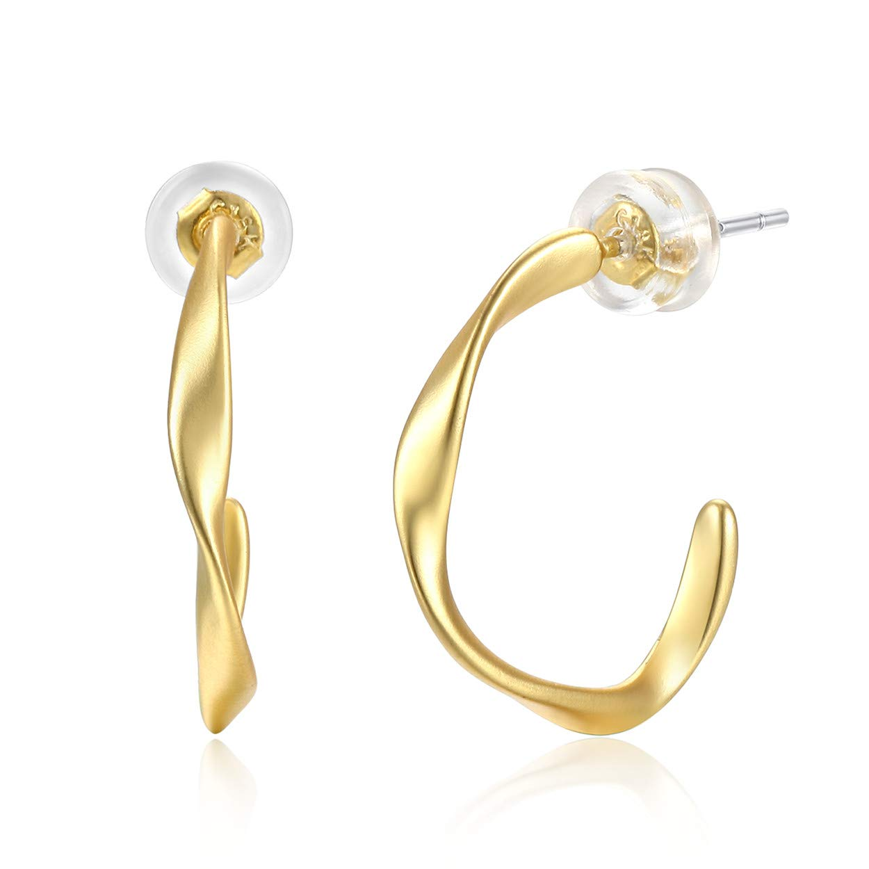 ad80a673232a1 Amazon.com: Matte Gold Hoop Earrings, 925 Sterling Silver Ear Post ...