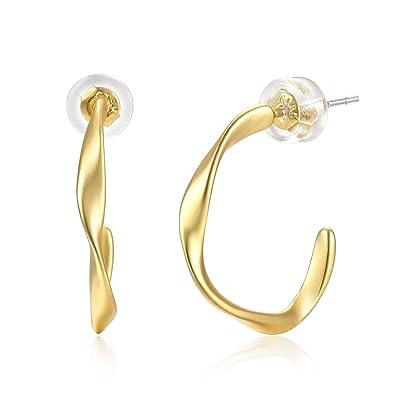 33ea27026c78e Amazon.com: Matte Gold Hoop Earrings, 925 Sterling Silver Ear Post ...