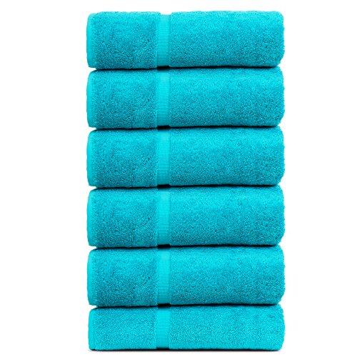 BC BARE COTTON Luxury Hotel & Spa Towel Turkish Cotton Hand Towels - Aqua Blue - Dobby Border - Set of 6