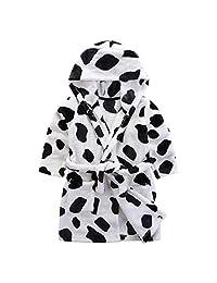 Vine Kids Bathrobe Hooded Nightgown Cute Pajamas Flannel Sleepwear Robes Loungewear