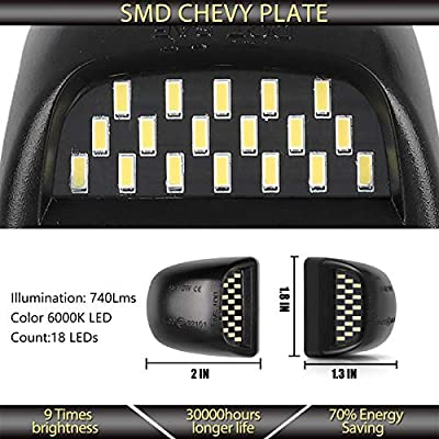 Full LED License Plate Lights Lamp Tag Light SET Assembly Replacement for Chevy Silverado, Suburban, Tahoe, GMC Sierra, GMC Yukon with 36 LED Plug and Play: Automotive