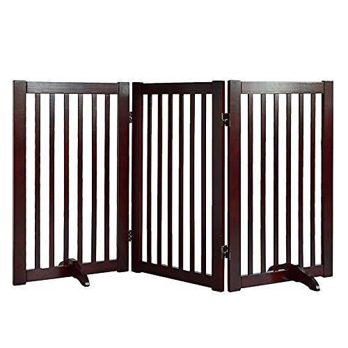 Wood Free Standing Gate (WELLAND Freestanding Wood Pet Gate Cherry, 54-Inch Width, 30-Inch Height (No Support Feet))