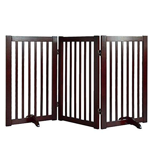 WELLAND Freestanding Wood Pet Gate (54-Inch, Cherry) - Cherry Finish Three Panel
