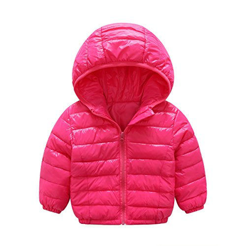 Price comparison product image 2017 new girl and boy sports style jacket children winter jacket style 2-5 year old child thin coat (2T(90), rose red)