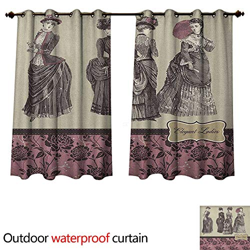 Anshesix Victorian Outdoor Curtains for Patio Sheer Ladies Clothes Fashion History Dress Handbag Feather Gloves Floral Design Print W120 x L72(305cm x 183cm)