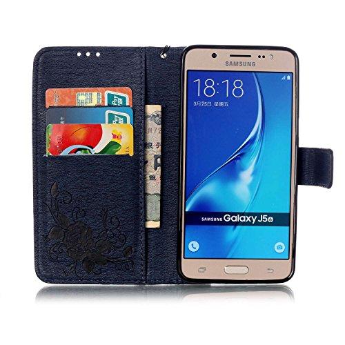 JIALUN-Personality teléfono shell Funda Samsung Galaxy J510, Cierre magnético Funda sintética de la PU Funda de cuero, Relieve Flores Mariposa con caja de diamantes de imitación para Samsung Galaxy J5 Deongaree