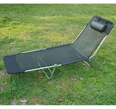Foldable Tilted Chaise lounger Chair Cot Lounge Triple-Folding w/Pillow Black by Fol
