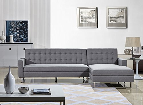 US Pride Furniture Dorris Gray Fabric Contemporary Facing-Right Chaise Sectional Sofa set (Right Facing Chaise)