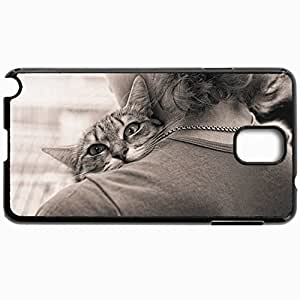 Personalized Protective Hardshell Back Hardcover For Samsung Note 3, Cat View Shoulder Parting Embrace Sepia Design In Black Case Color