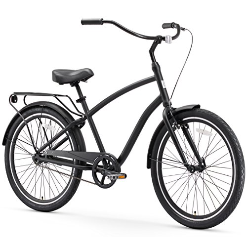 "sixthreezero EVRYjourney Men's Single Speed Hybrid Cruiser Bicycle, Matte Black w/Black Seat/Grips, 26"" Wheels/19 Frame"