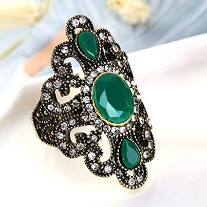 JEWH Women Bohemian Jewelry - Ancient Bronze Rings for Gift - Vintage Jewelry Stone Turkish Female