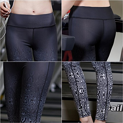 Zhhlinyuan Sports Workout Gradient color Pants Women Fitness Yoga Leggings Trousers Gray