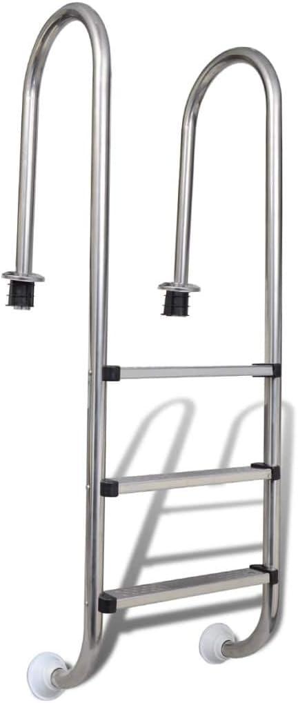 vidaXL Escalera Piscinas 3 Peldaños Acero 120 cm Escalinata Escala Spa Jacuzzi