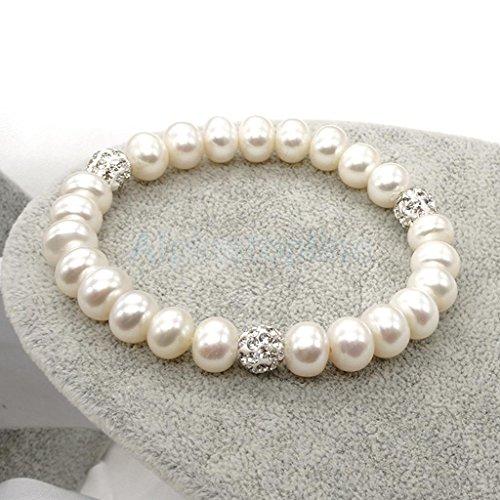 - White Oval Freshwater Pearl Strand Bracelet Wedding Bridal Bangle Cuff Gift