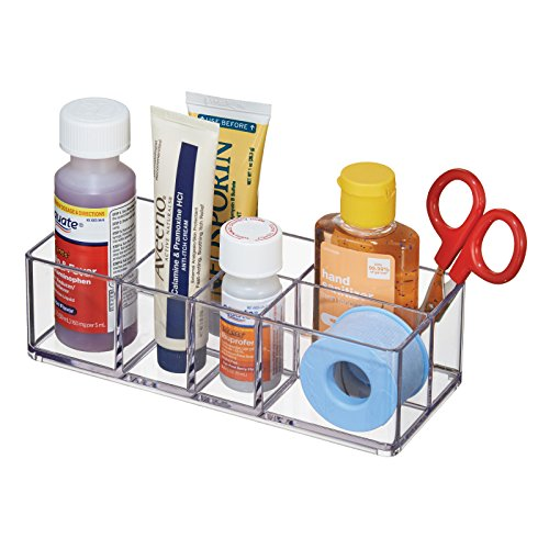 mDesign Bathroom Medicine Cabinet Organizer, for Tweezers, Medical Supplies, Contact Lenses, Cotton Balls - Clear