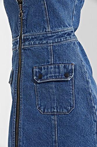 Urban Bliss Denim Minikleid Damen Reißverschluss Vorne ärmellose
