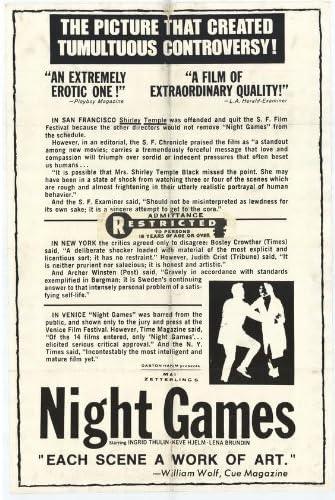 Amazon.com: Night Games Movie Poster (27 x 40 Inches - 69cm x 102cm) (1967)  -(Ingrid Thulin)(Keve Hjelm)(Lena Brundin)(Jörgen Lindström)(Naima  Wifstrand): Furniture & Decor