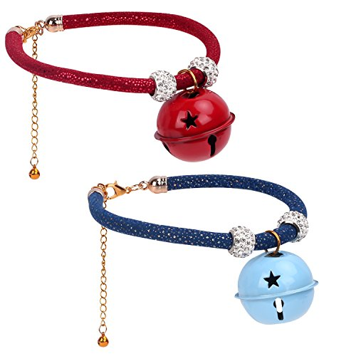(Vavopaw Adjustable Pets Collar with Small Bell, [2 Pack] Dog Cat Puppy Collar Pets Necklace Decoration Ornaments Accessories with Jingle Bells, 9.84