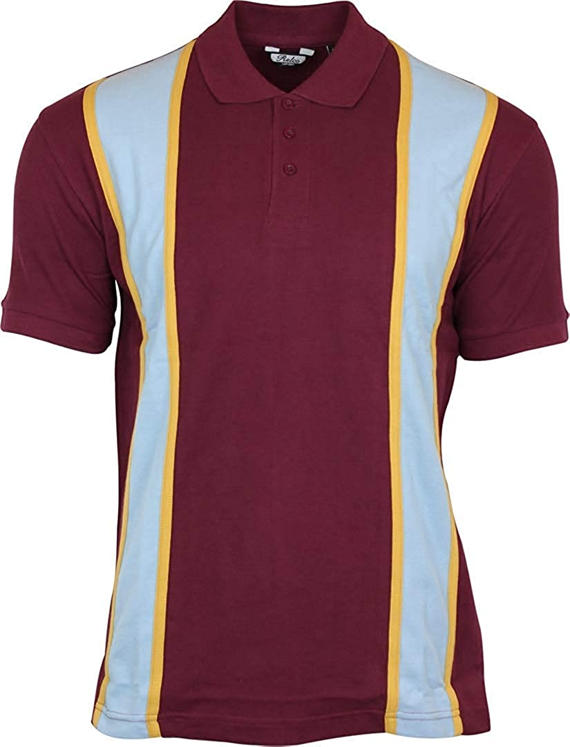 60s 70s Men's Clothing UK | Shirts, Trousers, Shoes Relco Mens Striped Vintage Style Polo Shirts Burgundy/Sky £24.99 AT vintagedancer.com