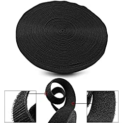 """TNP Hook And Loop Tape Strap Cable Ties Fastener (Black) (75 Feet) - Sticky Self Adhesive Nylon Fabric Roll Wrap 0.75"""" Wide 5 Yards Reusable For Cutting Custom Length Cord Wire Fastening"""