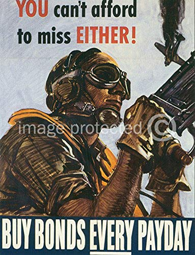 - You Cant Afford to Miss Either Vintage World War II Two WW2 WWII USA Military Propaganda Poster - 24x36