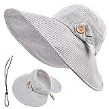 SOMALER Sun Hats For Women Summer Wide Brim Floppy Ponytail Hat Roll-Up Sun Visor Beach Hat