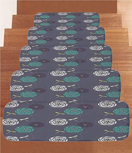 - iPrint Coral Fleece Stair Treads,Dragonfly,Bohem Modern Ethnic Inspired Minimalist Bugs and Flowers Print Decorative,White Sky Blue and Dark Blue,(Set of 5) 8.6