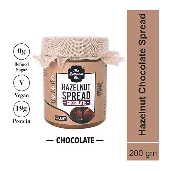 The Butternut Co. Chocolate Hazelnut Spread, 200 gm (No Refined Sugar, Vegan, No Preservatives)
