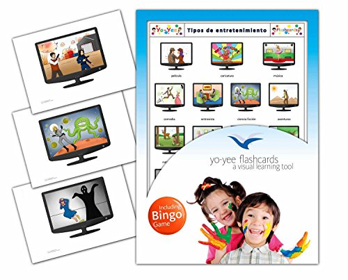 Types of Entertainment Flashcards in Spanish Language - Flash Cards with Matching Bingo Game for Toddlers, Kids, Children and Adults - Size 4.13 × 5.83 in - DIN A6 (Pelicula De Deporte)