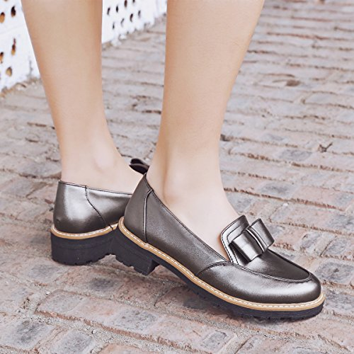 Spectacle Brillance Femmes Casual Arcs Chunky Talon Mocassins Chaussures Taupe