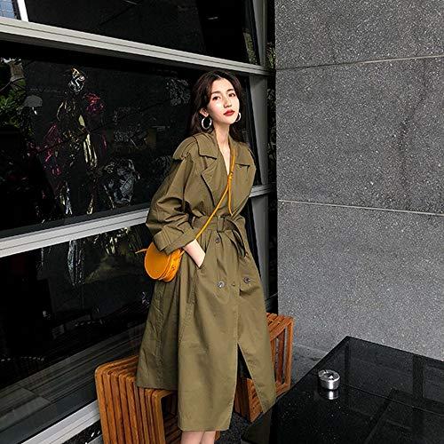 DWYJ Trench Femme Revers Large Ceinture avec Coupe-Vent Slim Veste Cardigan Veste Long Manteau Veste Veste